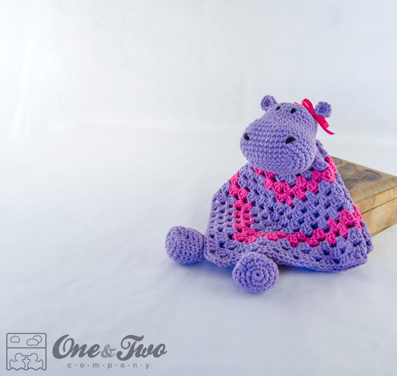 Free Crochet Pattern For Animal Security Blanket : Hippo Lovey / Security Blanket - PDF Crochet Pattern on Luulla